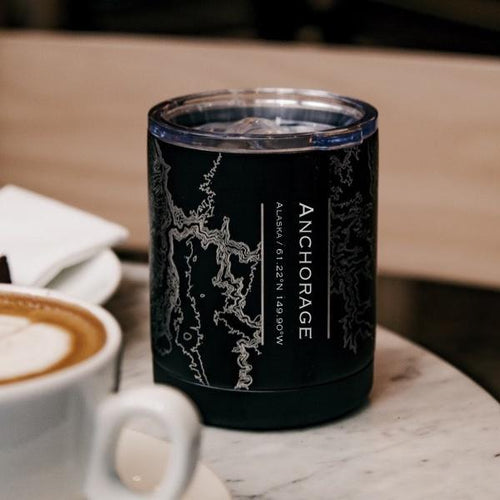 Anchorage - Alaska Map Insulated Cup in Matte Black