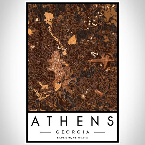 Athens - Georgia Map Print in Ember
