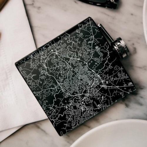 Athens - Georgia Map Hip Flask in Matte Black