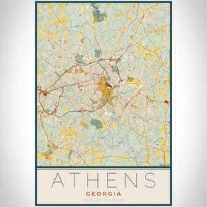 Athens - Georgia Map Print in Woodblock