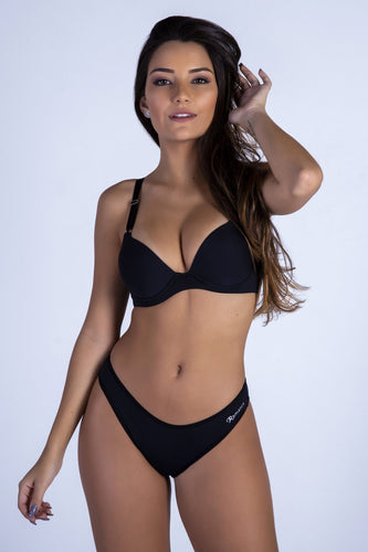 Black Butterfly Back Push-up Bra and Panty