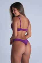 Load image into Gallery viewer, Purple Lace Cheeky Push-up Bra and Thong