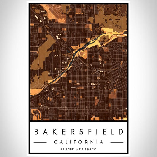 Bakersfield - California Map Print in Ember