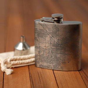 Bakersfield - California Map Hip Flask