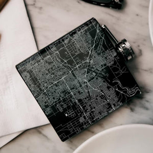 Bakersfield - California Map Hip Flask in Matte Black