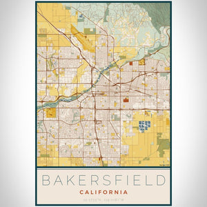 Bakersfield - California Map Print in Woodblock