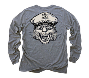 Captain Cat: Tri-Blend Long Sleeve T-Shirt in Heather Grey