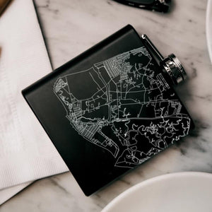 Cape May - New Jersey Map Hip Flask in Matte Black