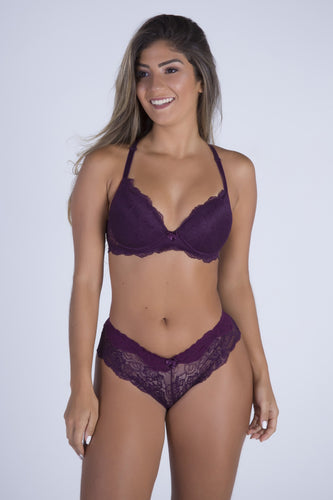 Purple Date Racerback Push-up Bra and Cheeky Panty