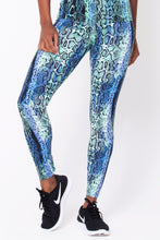 Load image into Gallery viewer, Blue Snake Print Leggings