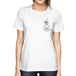 Babe Rose Pocket Printed Women's Shirt Cute Back to School T-Shirt