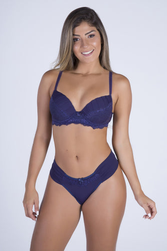 Navy Blue Perfect Shape Push-up Bra and Lace-back Thong