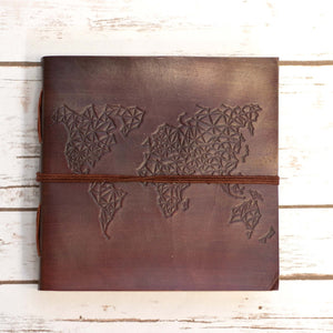 World Map Square Handmade Leather Journal