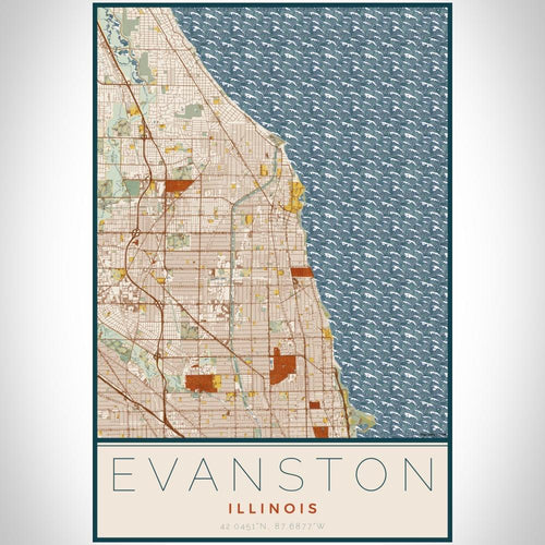 Evanston - Illinois Map Print in Woodblock