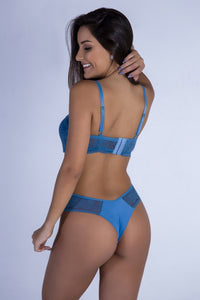 Blue Sweetheart Push-up Bra and Thong