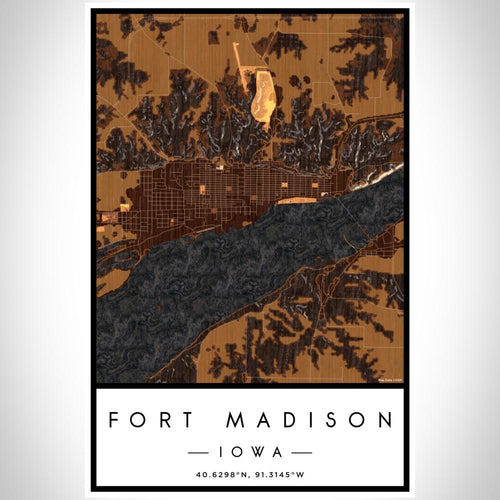 Fort Madison - Iowa Map Print in Ember