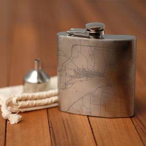 Fort Madison - Iowa Map Hip Flask