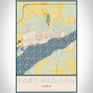 Fort Madison - Iowa Map Print in Woodblock