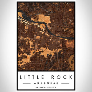 Little Rock - Arkansas Map Print in Ember