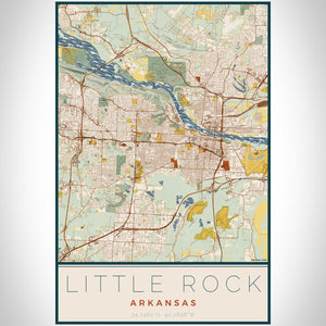 Little Rock - Arkansas Map Print in Woodblock