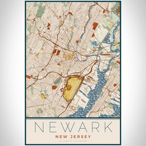Newark - New Jersey Map Print in Woodblock