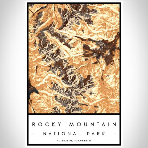 Rocky Mountain National Park - Colorado Map Print in Ember