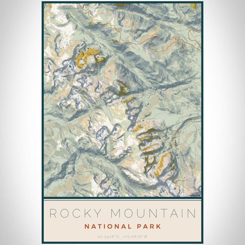 Rocky Mountain National Park - Colorado Map Print in Woodblock
