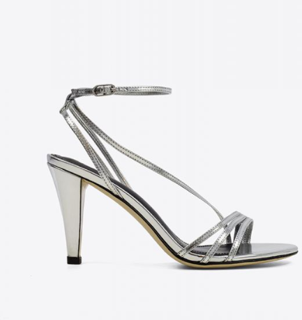 Silver ankle strap heel