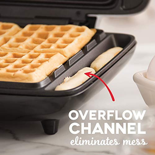 DASH No Mess Belgian Waffle Maker: Waffle Iron 1200W + Waffle Maker Machine  For Waffles, Hash Browns, or Any Breakfast, Lunch, Snacks with Easy Clean,