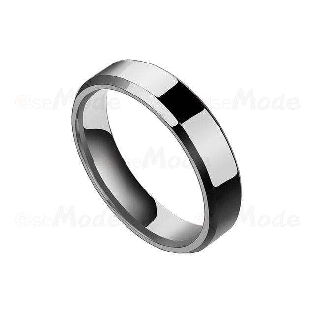 Stainless Steel Black & Steel Mens Ring