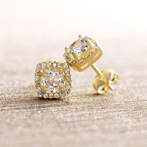 3.44 CT Swarovski Crystal 8mm Pave Halo Stud Earring - 3 Colors Available