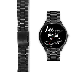 Black Watch with Black Metal Link Band- All you need is love English and Arabic Typography