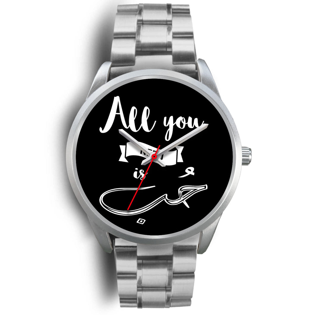 Silver Watch with Silver Metal Link -All you need is love English and Arabic Typography