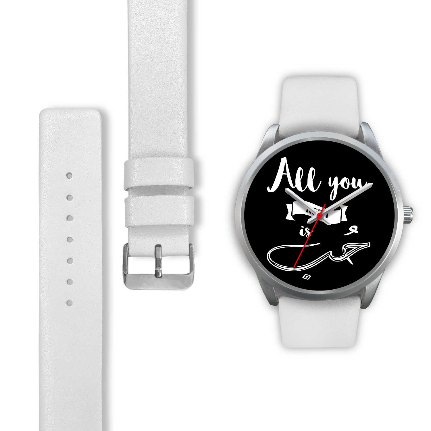 Silver Watch with White Band -All you need is love English