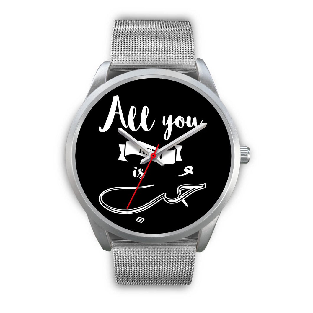 Sliver Watch with Silver Metal Mesh Band- All you need is love English and Arabic Typography