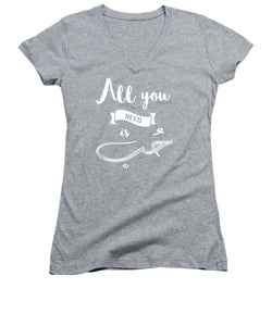 All You Need Is Love- English And Arabic Typography - Women's V-Neck