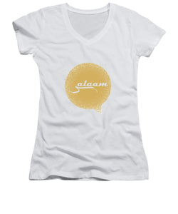 Salaam Typography In Arabic And English  - Women's V-Neck