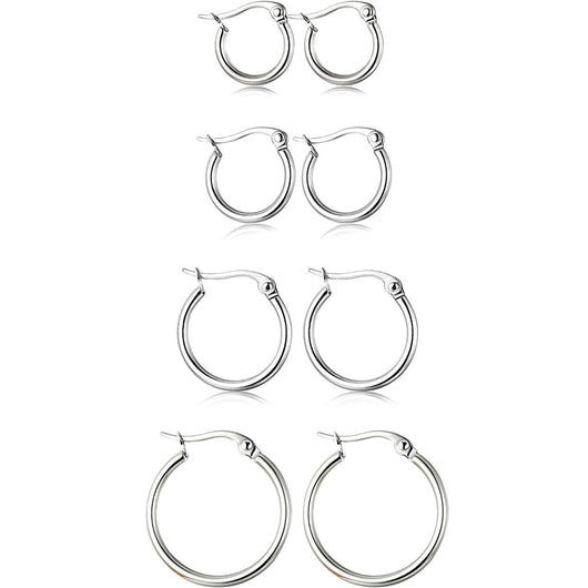 4 Pair Sterling Silver Hoop Earrings Set