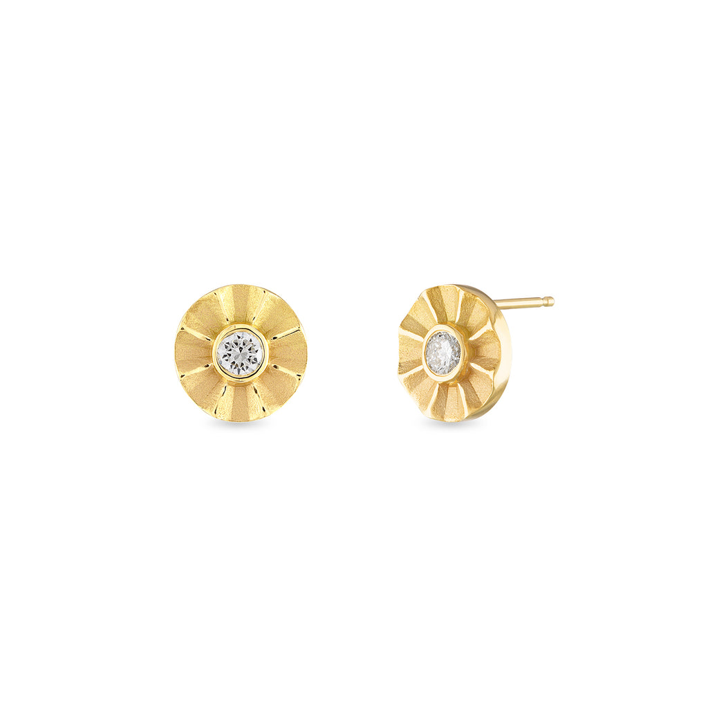 Diamond Studs with Fluted Edge