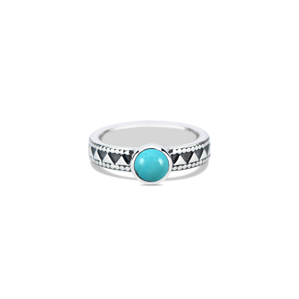 Triangle Stacking Ring with Round Cabochon