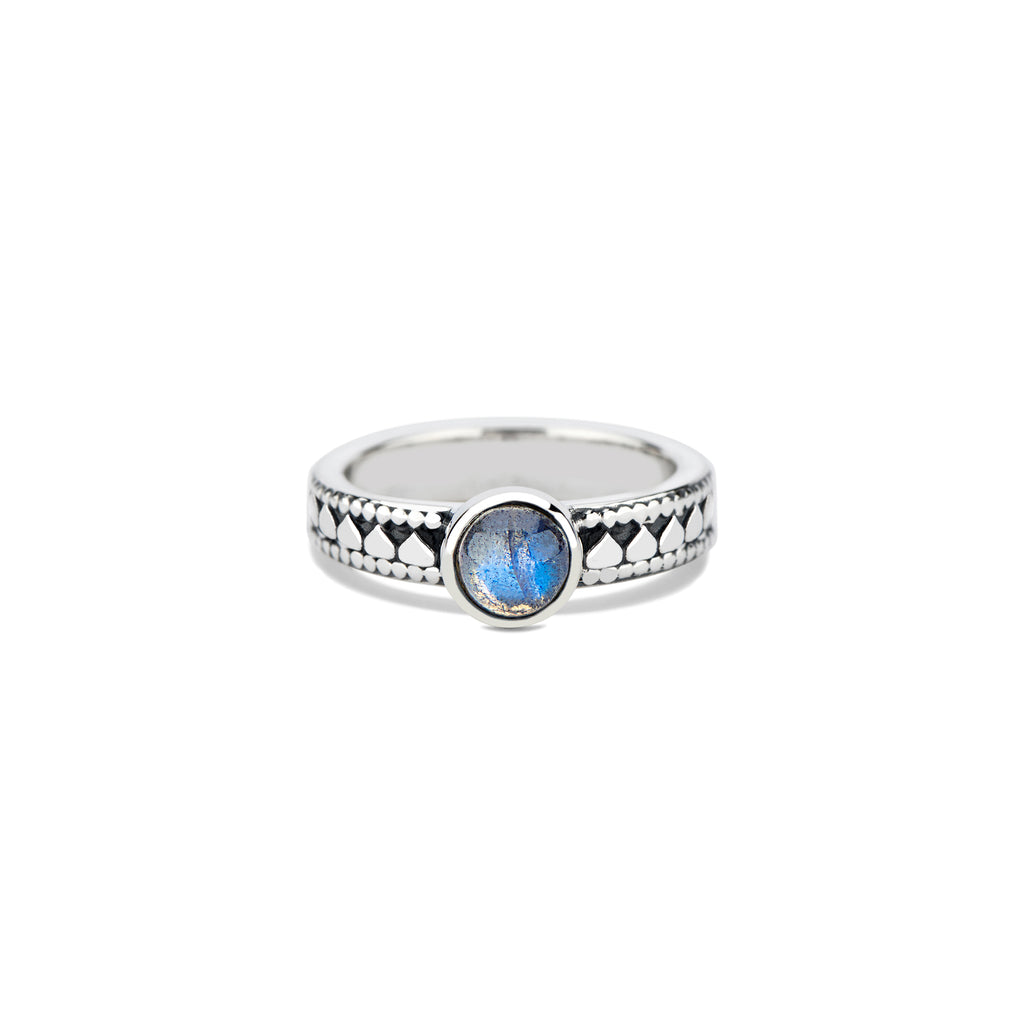 Lotus Stacking Ring with Round Cabochon
