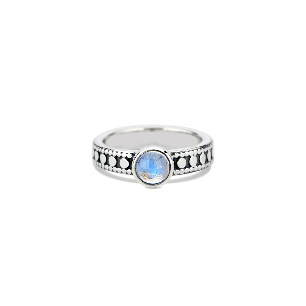 Studded Stacking Ring with Round Cabochon