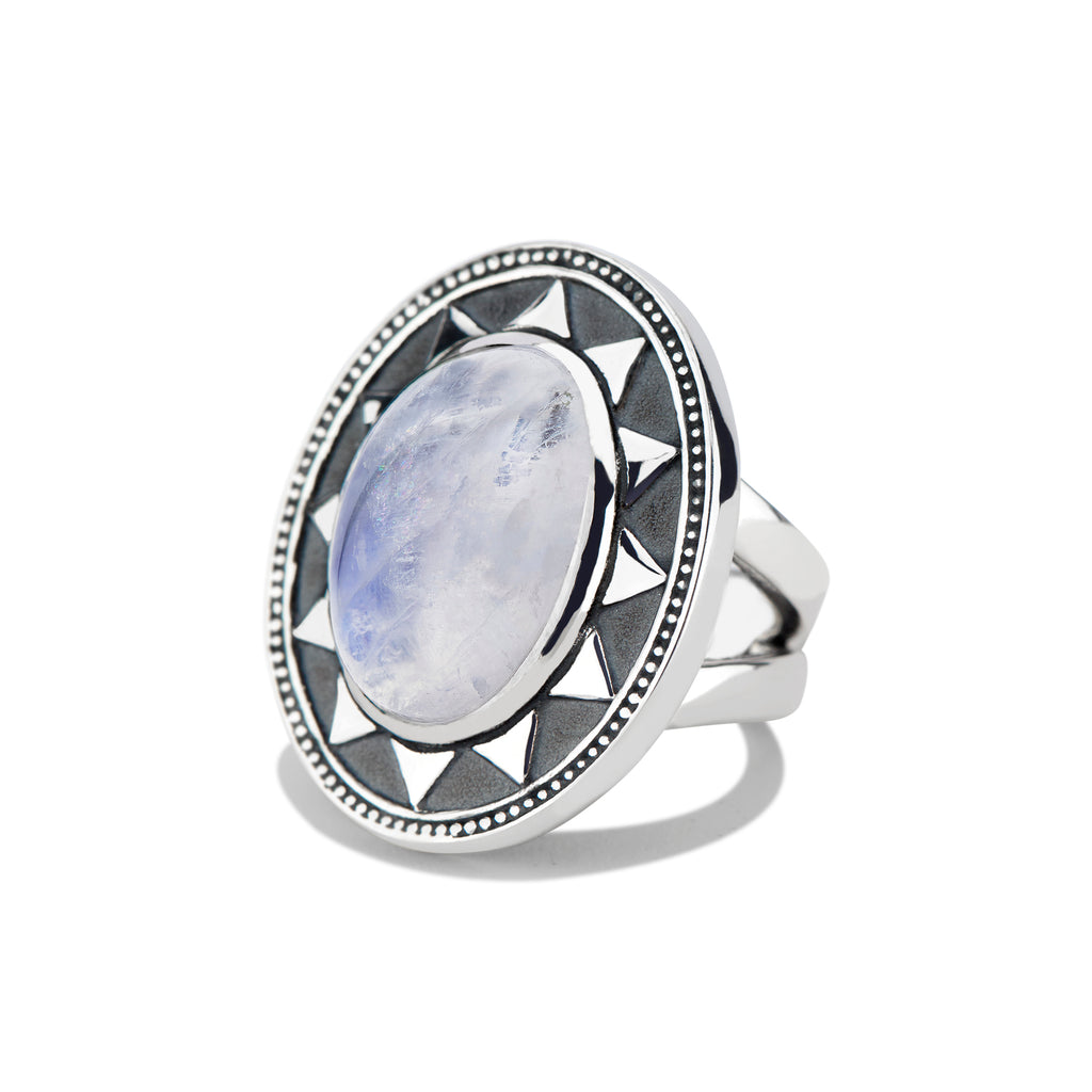 Radial Cocktail Ring with Bold Cabochon