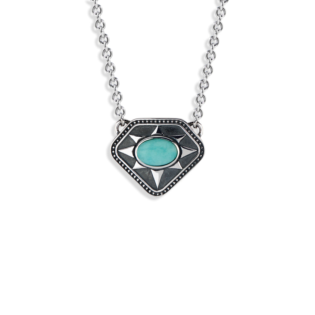 Radial Shield Necklace with Oval Cabochon