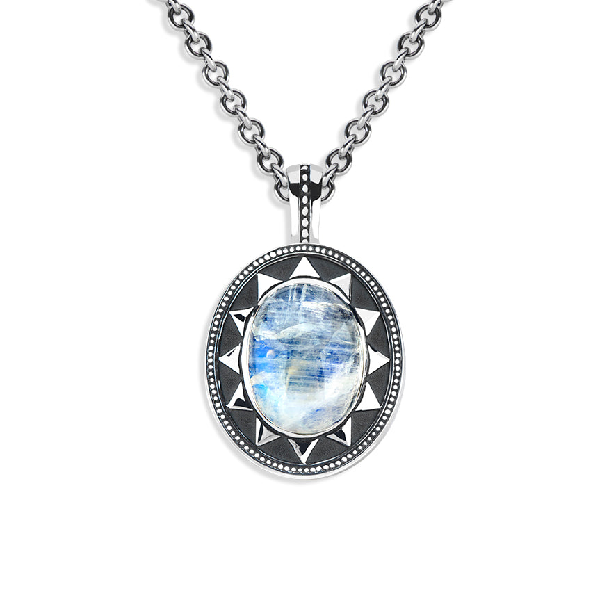 Bold Radial Cabochon Pendant with Lattice Back