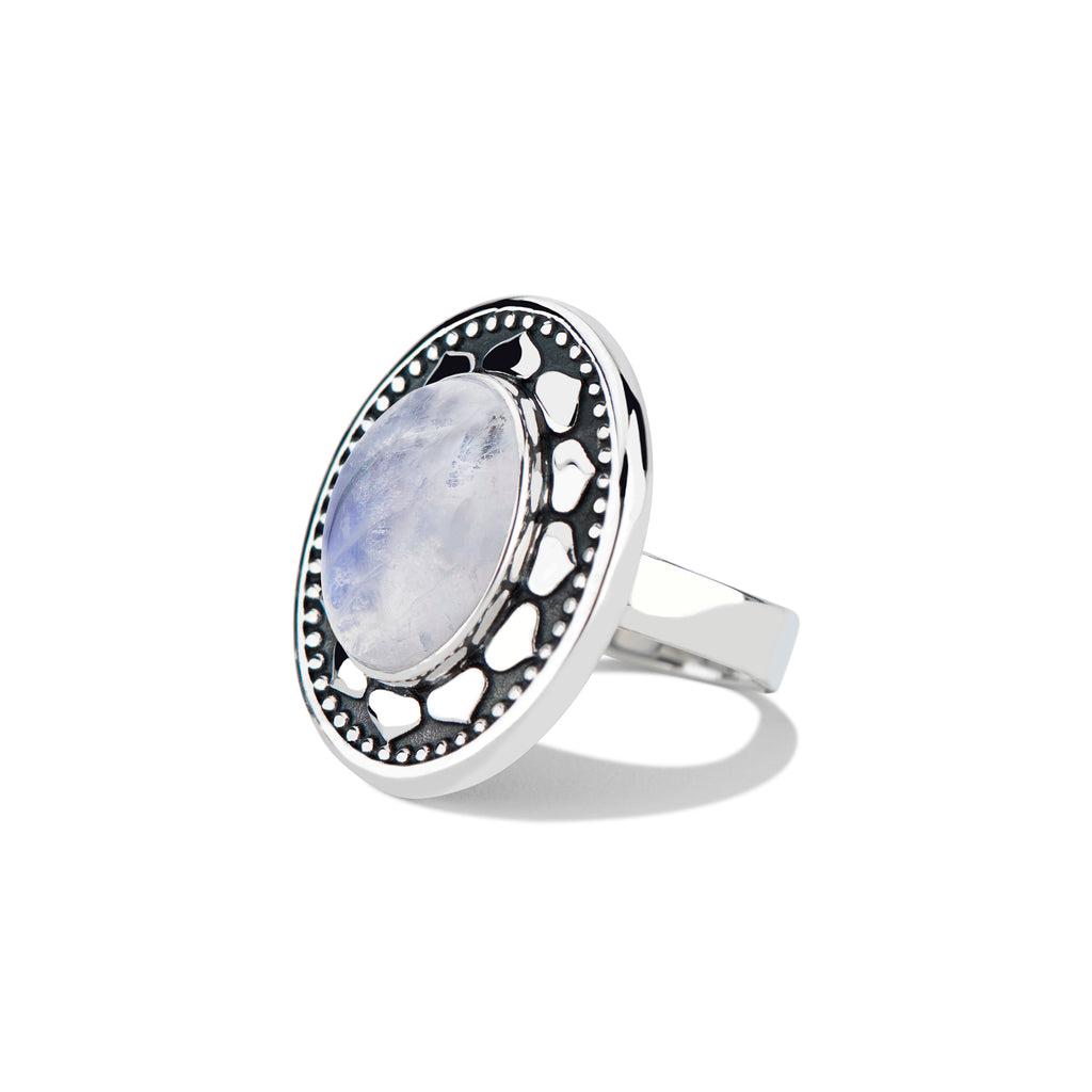 Lotus Cocktail ring with Oval Cabochon