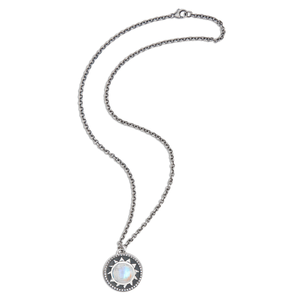 Round Radial Pendant with Cabochon and Diamonds