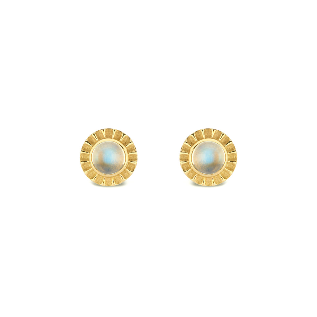 Cabochon Stud Earrings with Fluted Edge