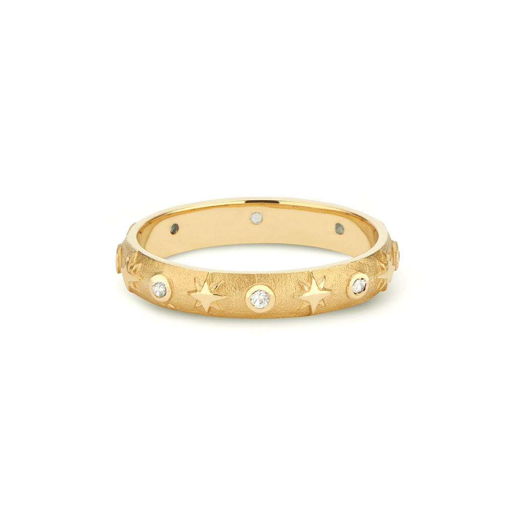 Domed Star Band with Gemstones