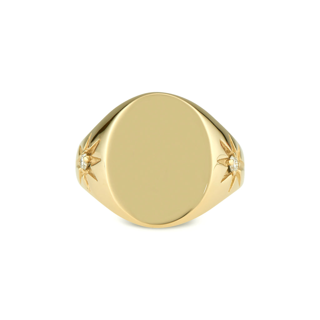 Engravable Star Signet Ring